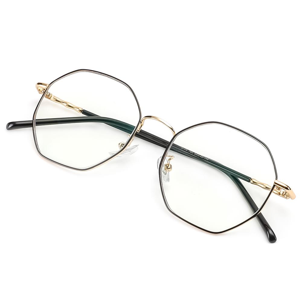 [US Direct] Cyxus Anti Blue Light Computer Glasses for Blocking UV Eye Strain Headache, Reading Eyewear (8065T01, Bright Black) Block Droplets Gold_M