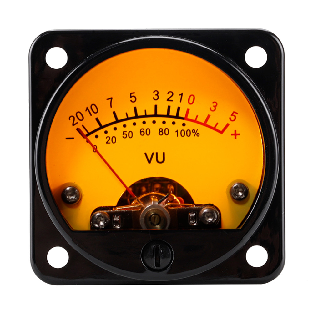 45mm Big Vu Meter Stereo Amplifier Board Backlight Power Meter Level Indicator Adjustable With Driver Yellow background