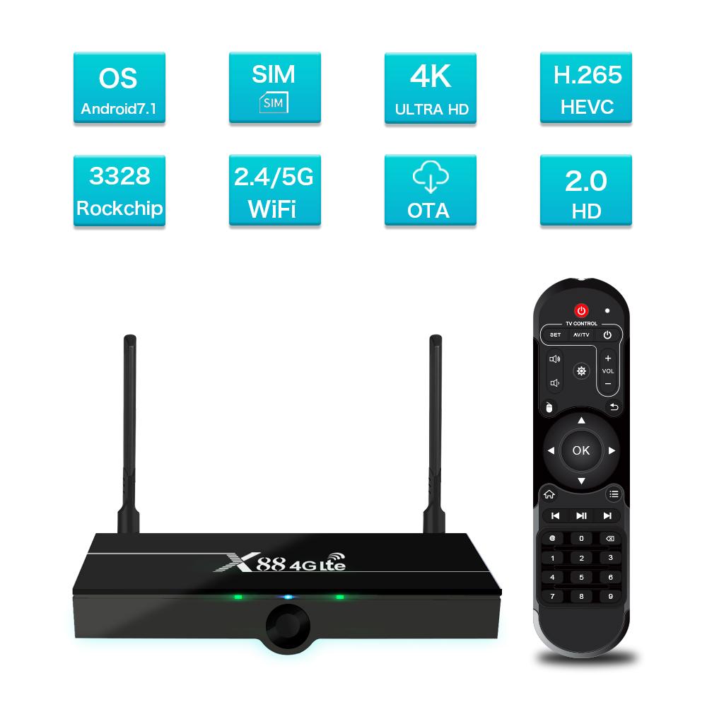 X88 4G Lte TV Box Android 9.0 2GB RAM 16GB Google Voice Assistant RK3328 4K Quad Core With SIM Card Australian regulations