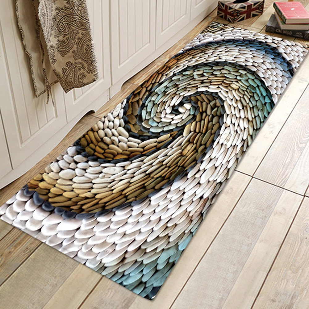 Chic 3D Rotating Pebbles Printing Carpet Hallway Doormat Anti-Slip Bathroom Absorb Water Carpet Kitchen Mat/Rug