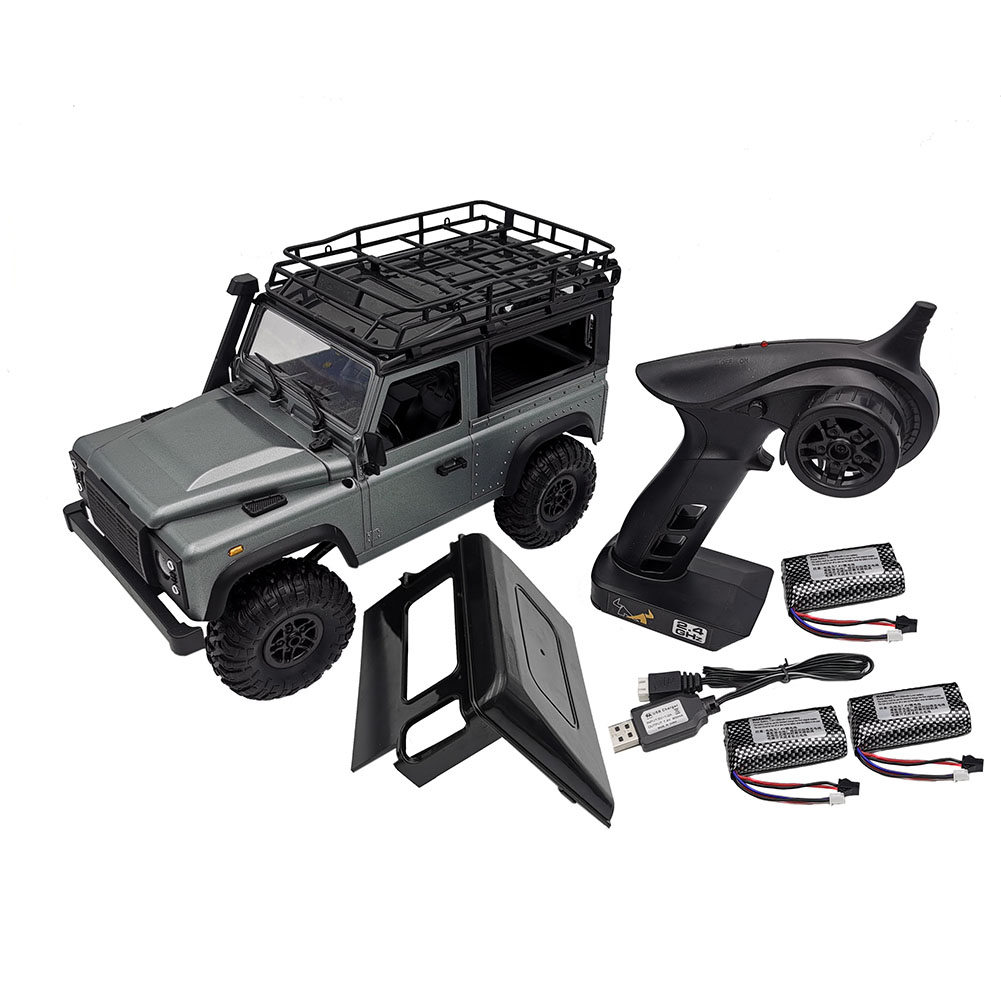 MN-99S 1/12 2.4G 4WD Rc Car W/ Turn Signal LED Light 2 Body Shell Roof Rack Crawler  Truck RTR Toy gray_Triple battery