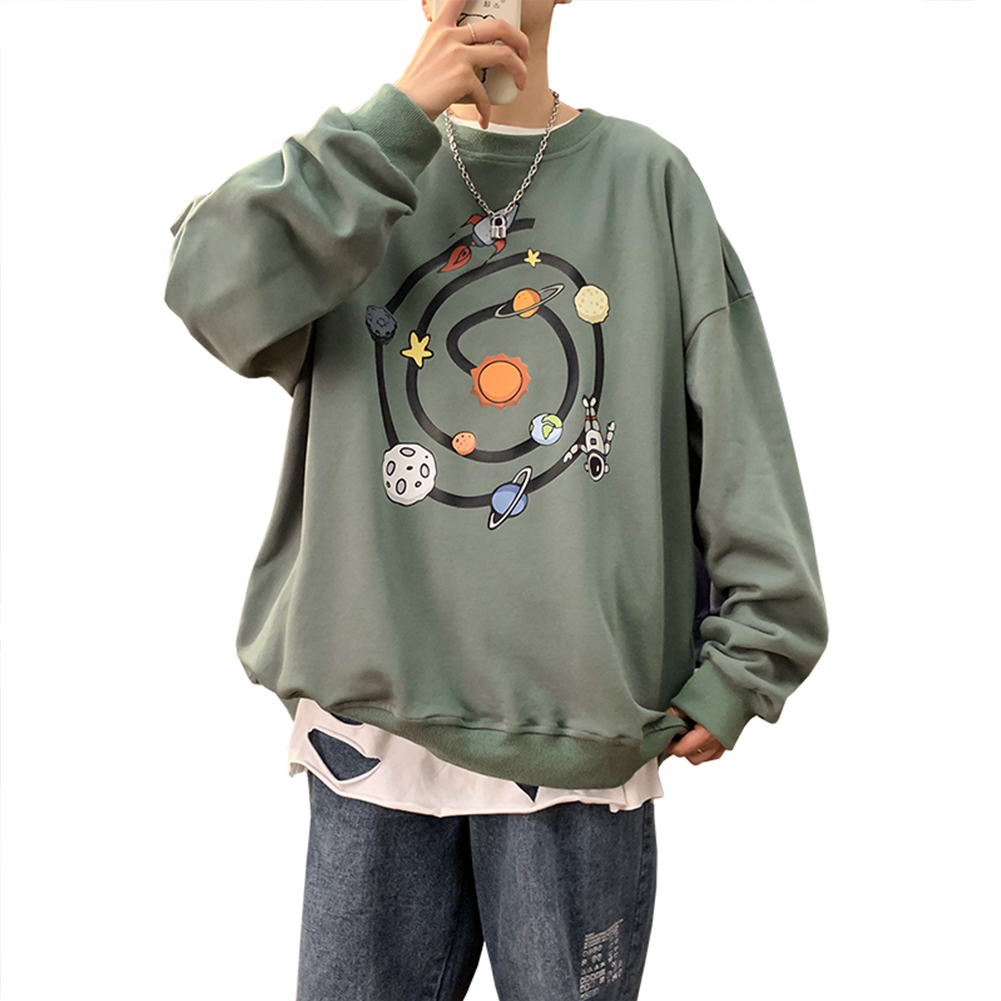 Men Round Collar Loose Handsome Leisure Tops Lovers Printed Long Sleeve Pullovers Army green _M