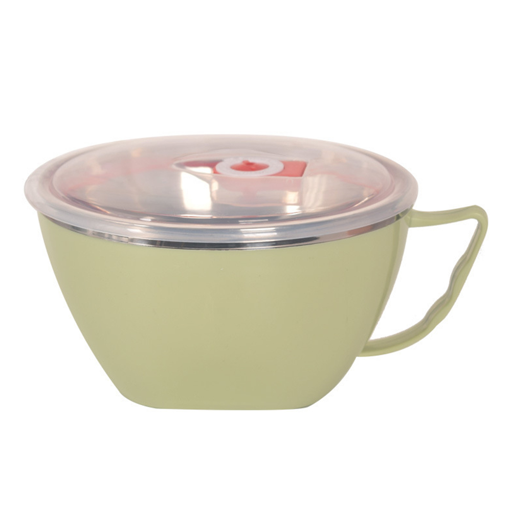 Double Layer Insulation Stainless Steel Instant Noodle Bowl with Lid
