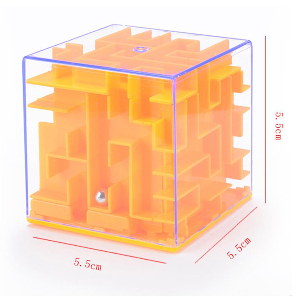 Children Puzzle Tou 3D Maze Magic Cube Beads Transparent Maze Beads Piggy Random Color 5.5CM solid maze (random color)