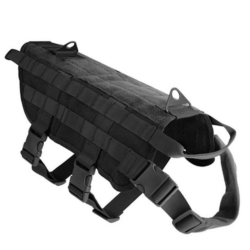 Large Dog Vest Black Nylon Pet Clothing Outdoor for Tactical Training Dog Large Police Dog S