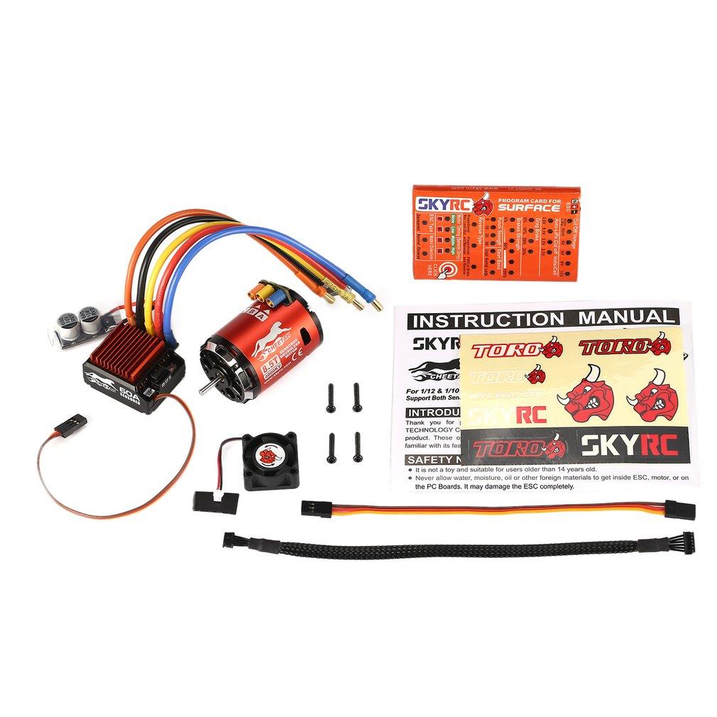 SKYRC 4000KV 8.5T 2P Sensored Brushless Motor CS60 60A Sensored ESC LED Program Card Combo Set for 1/10 1/12 RC Buggy Car 8.5T 4000KV