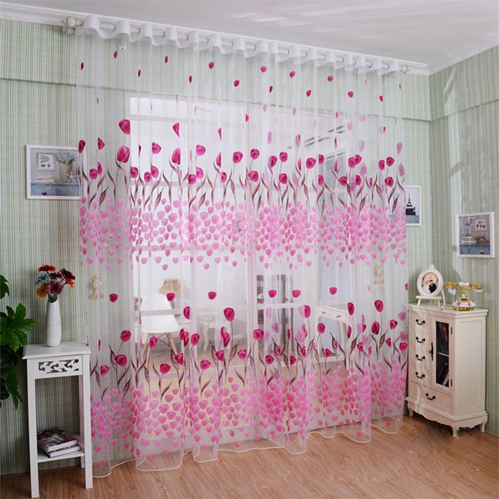 Romantic Window Door Tulip Print Voile Sheer Curtain Drape Creative Floral Translucent Tulle Divider Valance Pink Pink_100 * 200cm