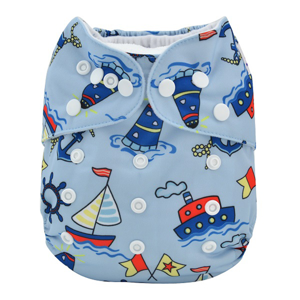 Kidlove Baby Infant Lovely Printing Washable Soft 3 layer Structures Cloth Diaper Pants with Snap Closure, Adjustable 3 Size, Waterproof