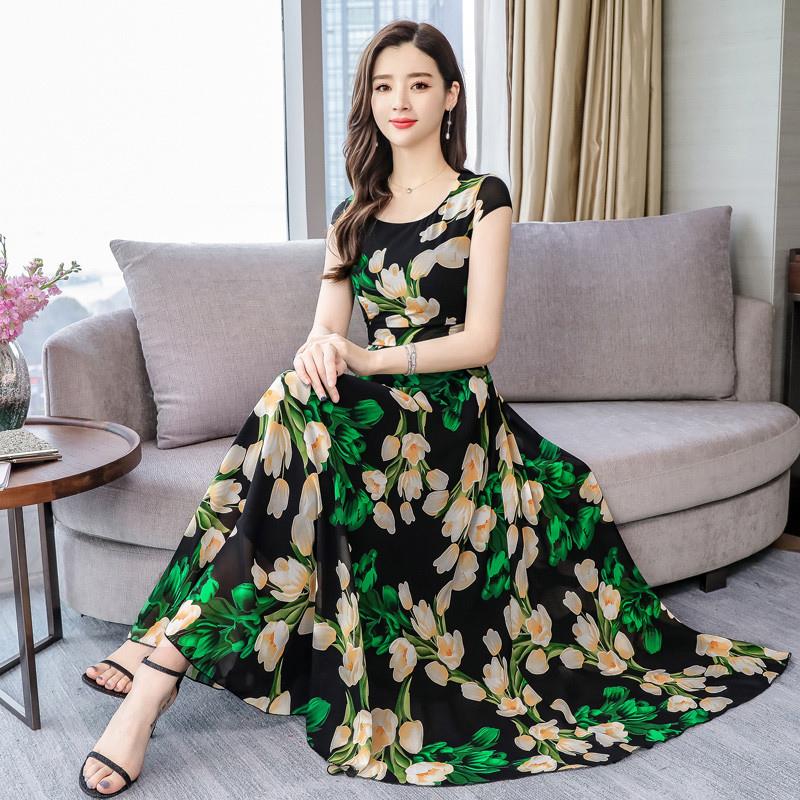 Women Summer Casual Short Sleeve Floral Printing Long Dress green_XL