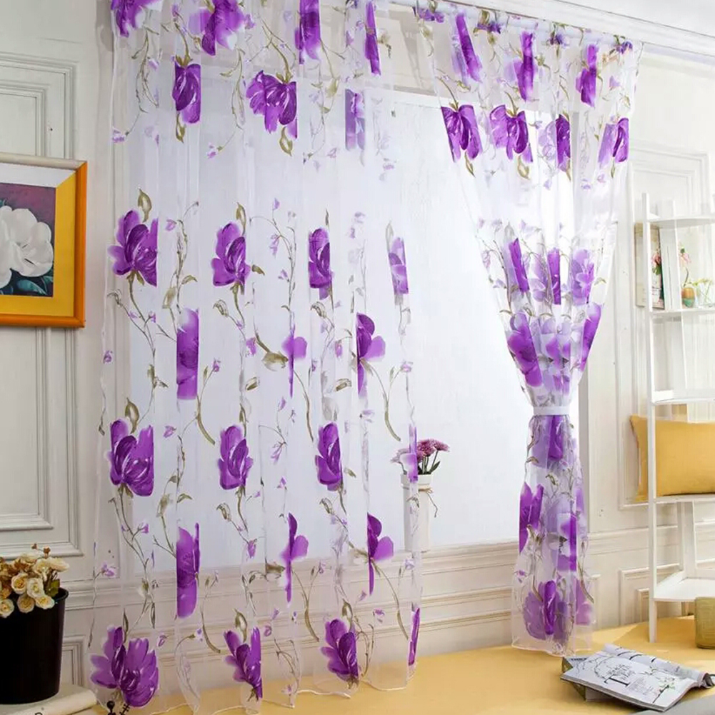 Sheer Vines Leaves Flower Model Tulle Door Window Curtain Drape Panel Scarf Valances purple_100X200CM