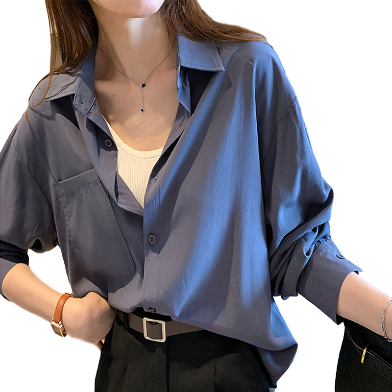 Women's Blouse Spring and Autumn Solid Color Loose Long Sleeve Shirt Blue gray_XL