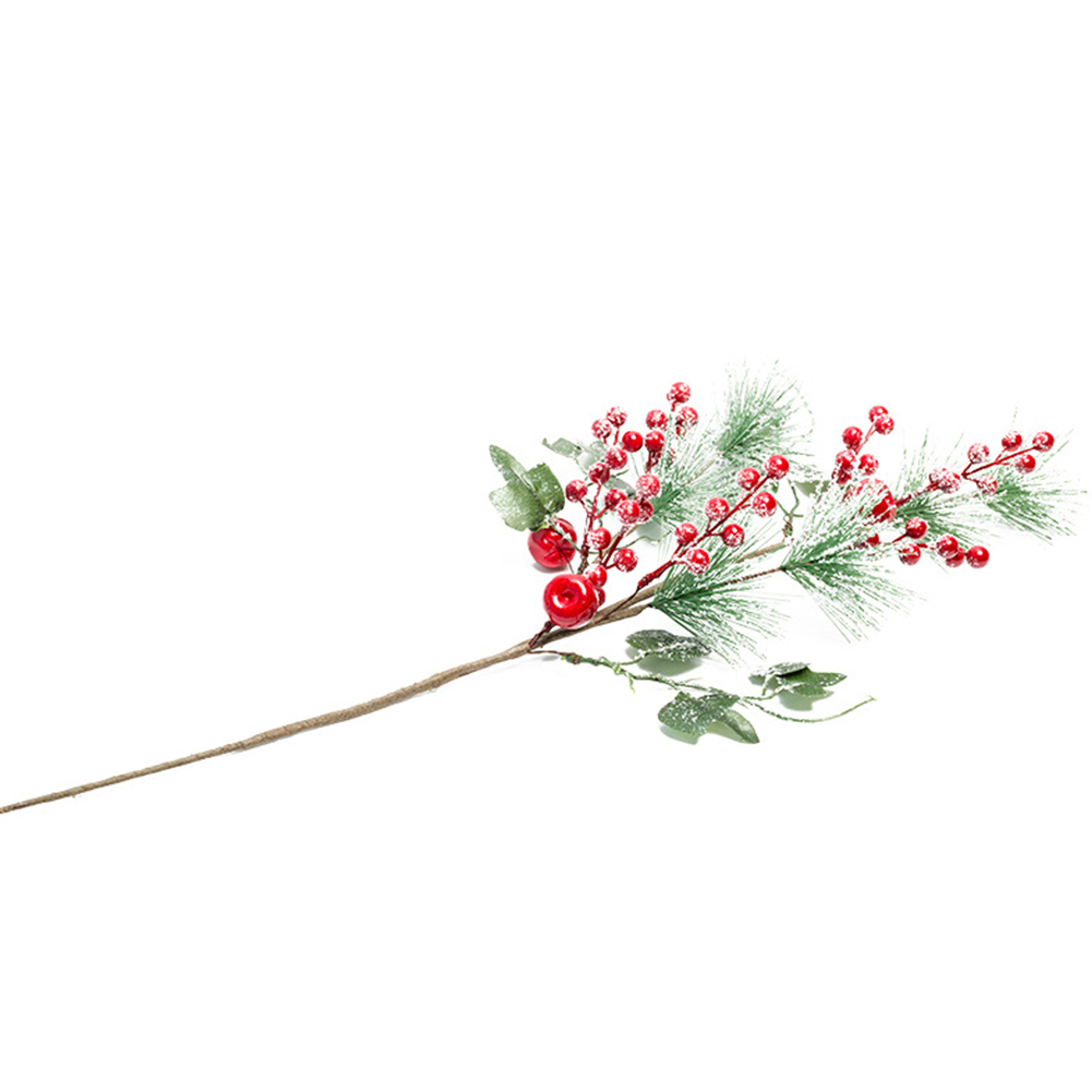 Artificial Red Berry Pine Twigs Decoration for Christmas Crafts Party Home Decor 1 branch