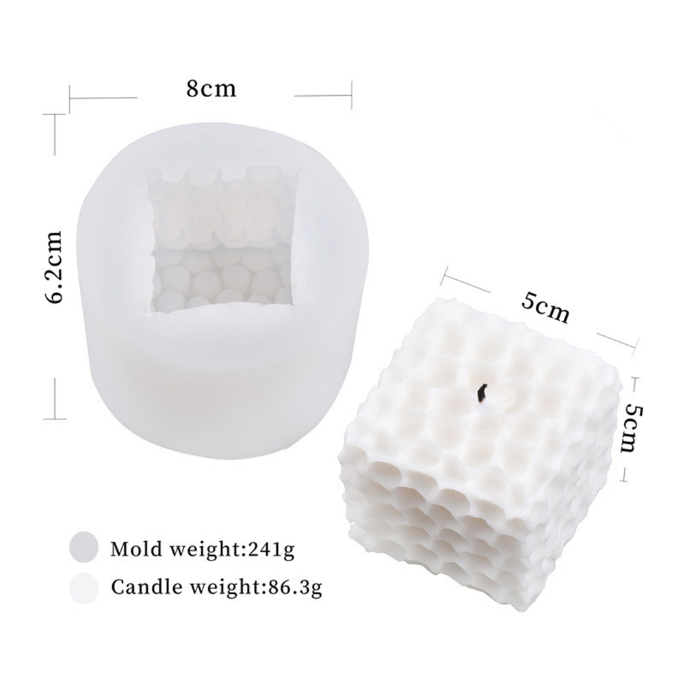 Silicone Magic Round  Cube Shaper Candle Mould Mutilayer Diy Mold For Cake Bakery Candle White_5*5-Honeycomb candle mould