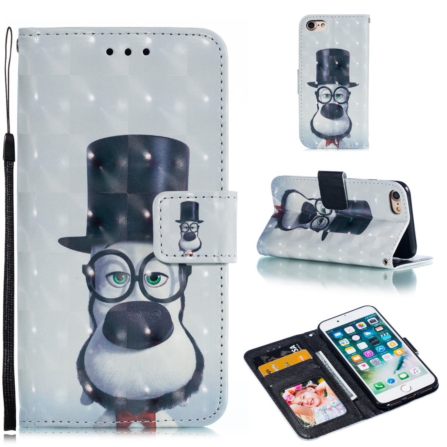 For iPhone 7/8 3D Coloured Painted Full Protective Cover with Button Card Slots Bracket Lanyard