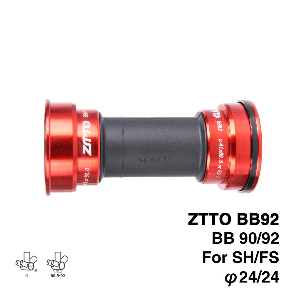 Bicycle Axle ZTTO BB92 MTB Road Mountain Bike Bicycle Press Fit Bottom Brackets For Parts Prowheel 24mm Crankset Chainset red