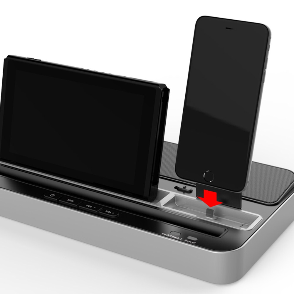 Sound Function Multipurpose Charging Base for Switch/Android/IOS Mobile Phone Tablet Space silver
