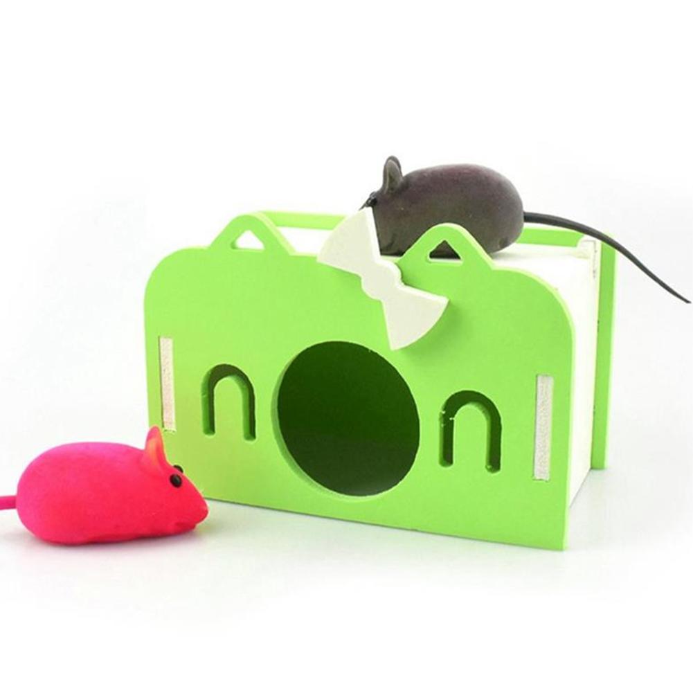 Mini Wooden House Shape Sleeping Nest Toy for Hedgehog Guinea Pig Hamster Pet green_S