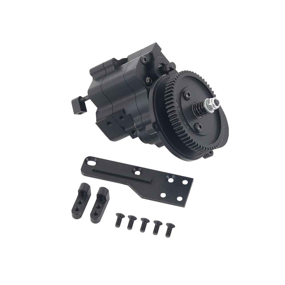 Alloy CNC Chassis / Gear Box Transfer Case Center Gearbox Transmission Case 2 Speed For 1/10 Axial Wraith 90018 Rc Crawlers black