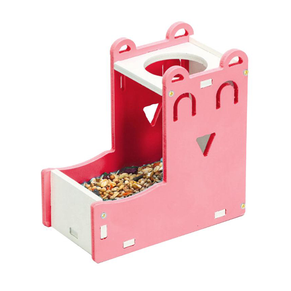 Hamster Feed Trough Pet Kettle Automatical Feeding Water Bowl Supplies Happy Face Water Bottle Holder Pink