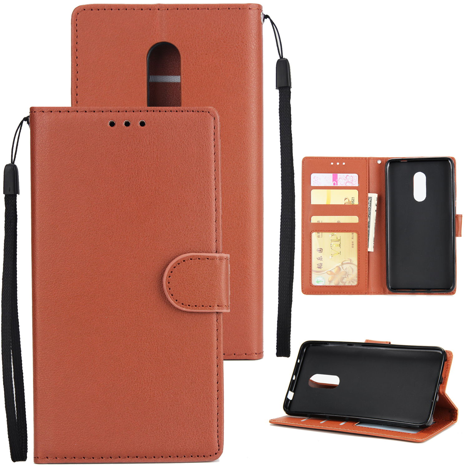 Ultra Slim PU Full Protective Cover Non-slip Shockproof Cell Phone Case with Card Slot for Xiaomi Redmi note 4 brown