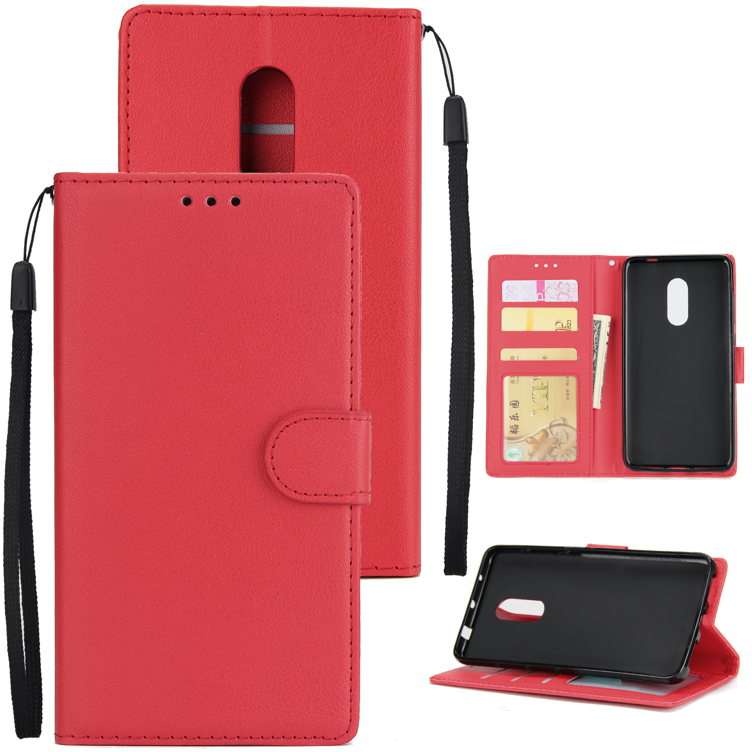 Ultra Slim PU Full Protective Cover Non-slip Shockproof Cell Phone Case with Card Slot for Xiaomi Redmi note 4 red