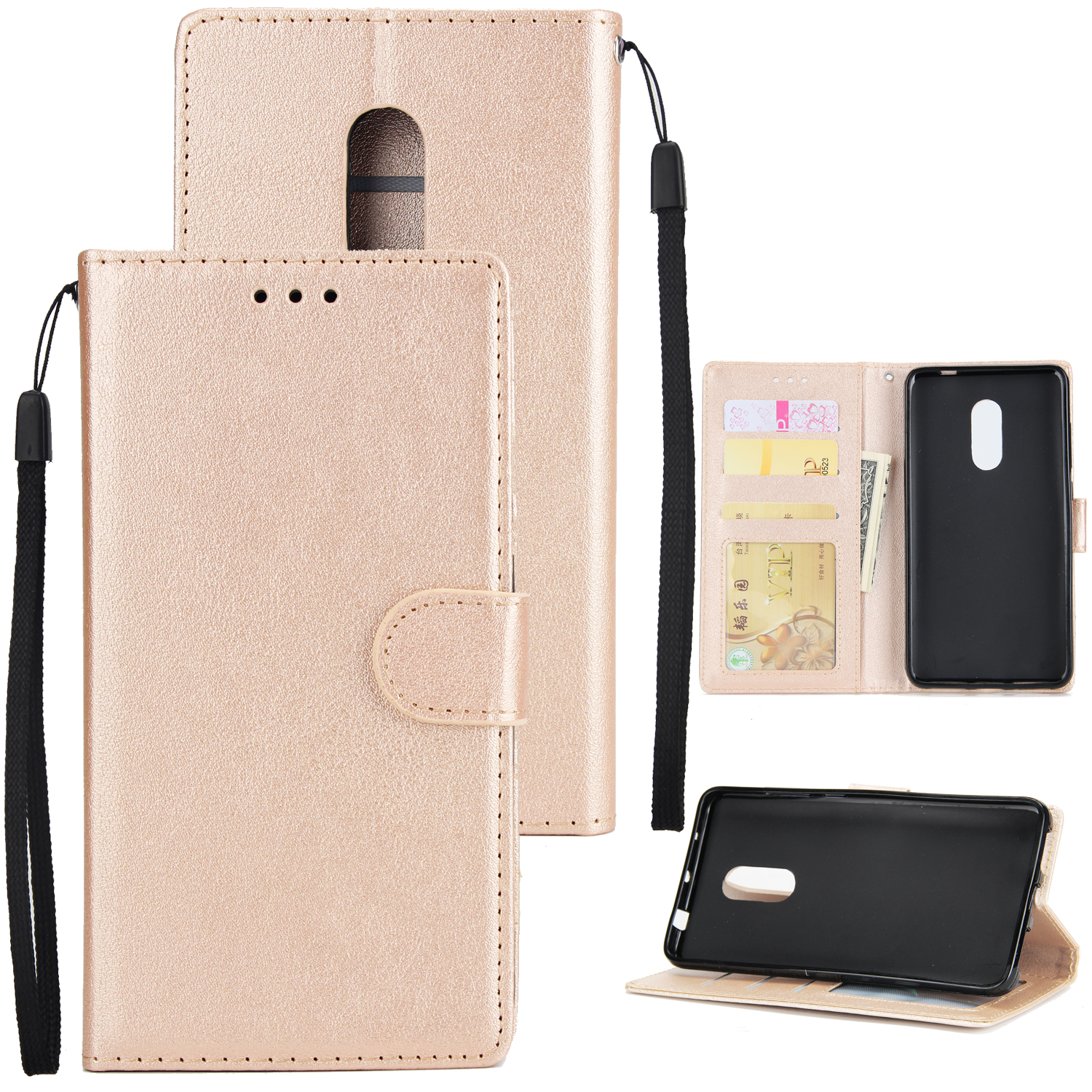 Ultra Slim PU Full Protective Cover Non-slip Shockproof Cell Phone Case with Card Slot for Xiaomi Redmi note 4 Golden