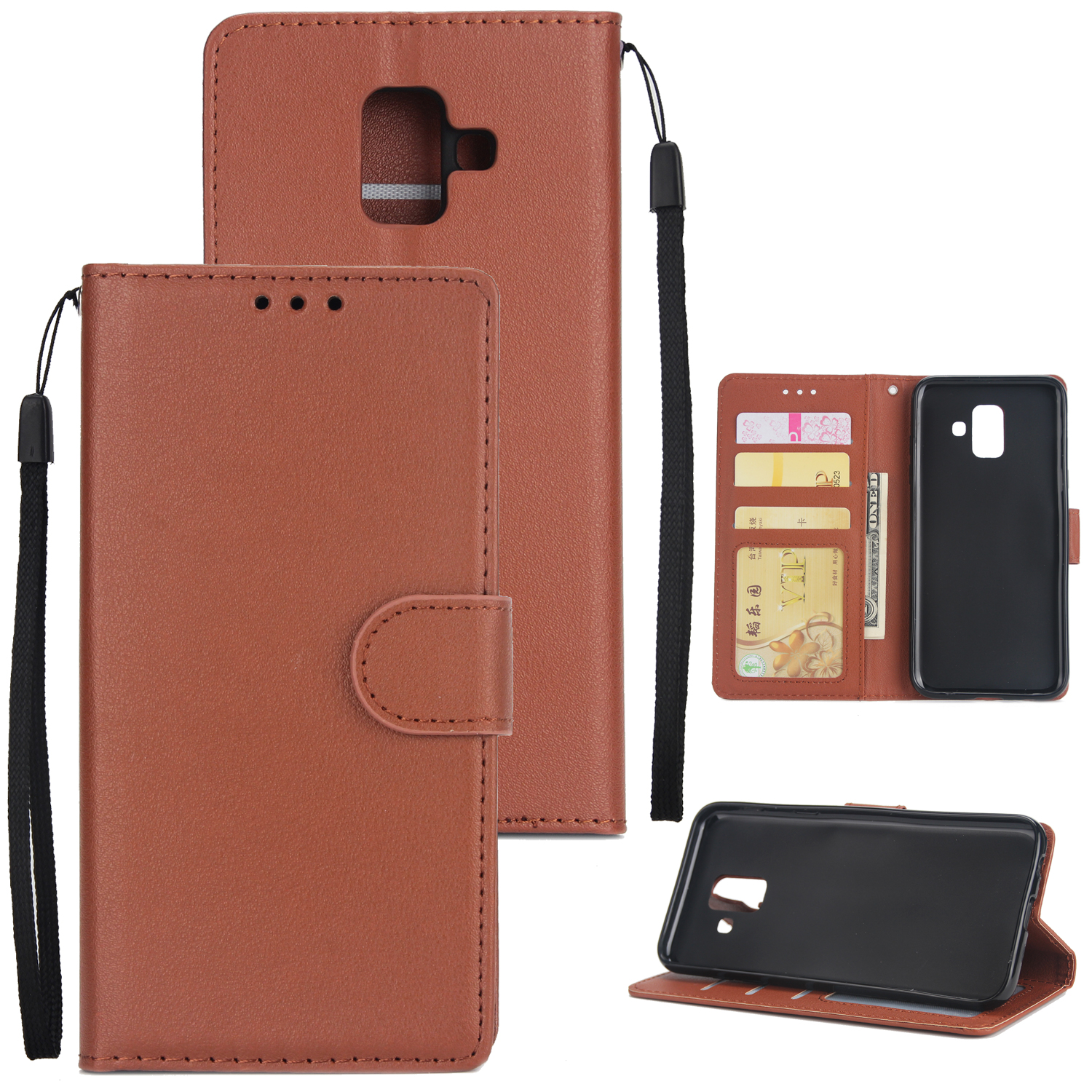 For Samsung J6 plus Flip-type Leather Protective Phone Case with 3 Card Position Buckle Design Phone Cover  brown