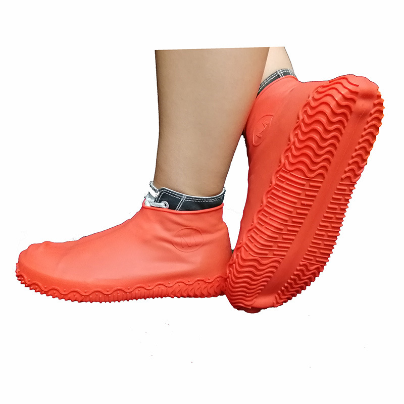 Non-slip Silicone Overshoes Reusable Waterproof Rainproof Shoes Covers Red M