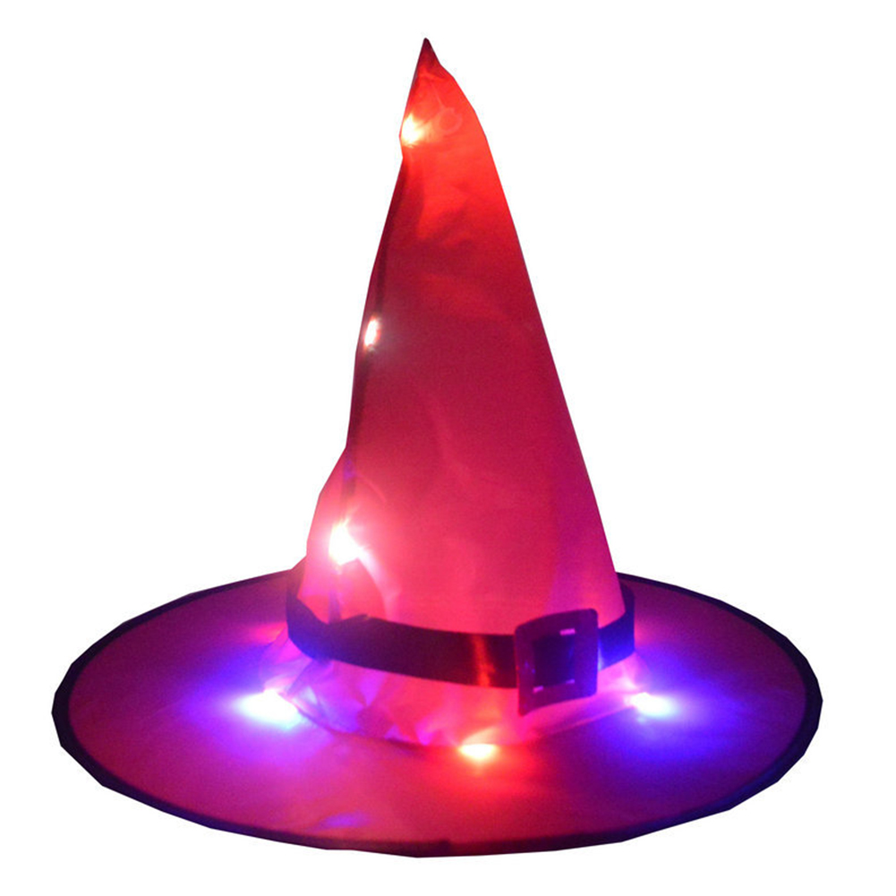 Halloween Glowing Witch Hat Lighting Head-wear for Outdoor Cosplay Props Rose Red