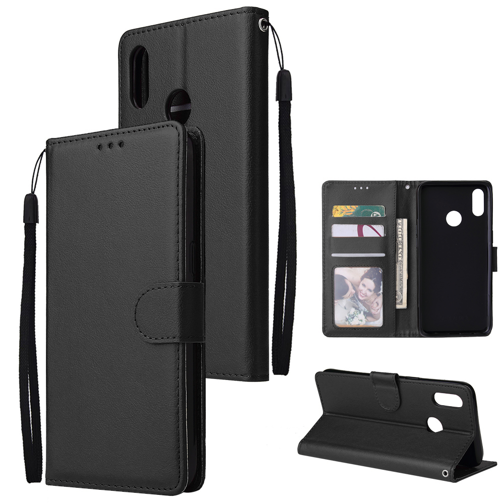 For OPPO Realme 3 Wallet-type PU Leather Protective Phone Case with Buckle & 3 Card Position black