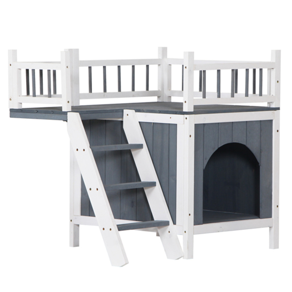 [US Direct] 730*530*660cm  Pet House Ch-730 N001 Cat Dog Kennel With Open Door Top Fence Dark gray & white