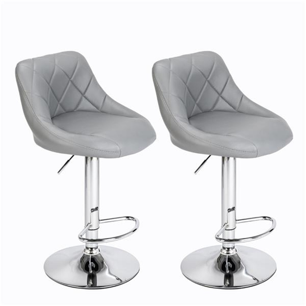 [US Direct] 2pcs Height Adjustable Swivel Bar  Stools Pu Leather Padded Chair With Back gray