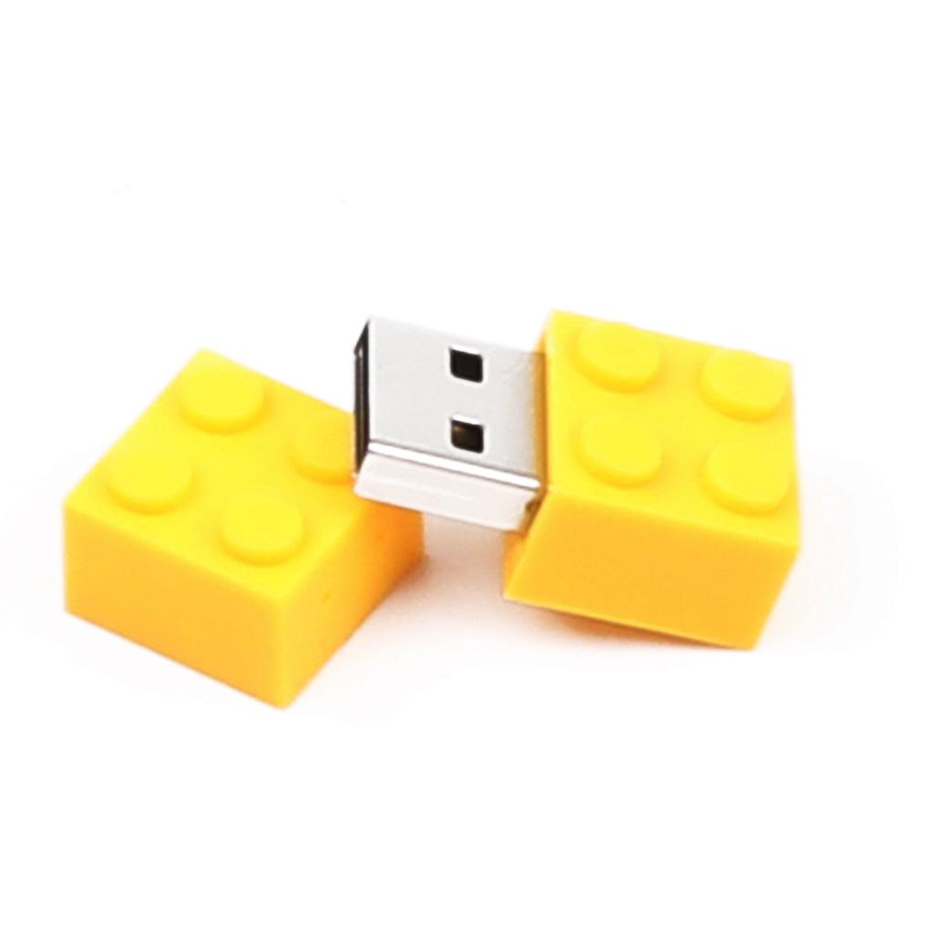 Yellow Flash Drive Building Blocks Shaped Usb 2.0 Pen Drives Menmory Stick Thumb Drive 2GB