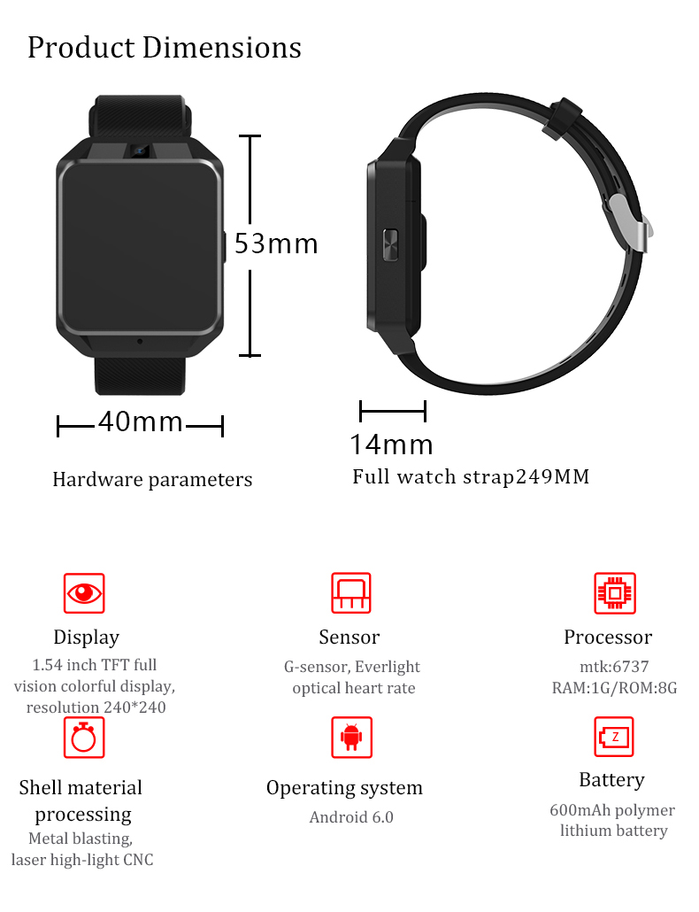 H5 Android Smart Watch - 4G, 1.54 Inch Touch Screen, Pedometer, Heartrate Sensor, Android 6.0, 5MP Camera 600 Mah