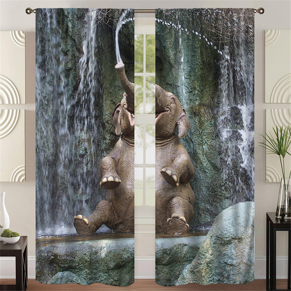 Digital Elephant Printing Curtains Decorative Windows Hanging Drapes, Ethnic Tapestry Curtains Room Darkening Panels For Living Room 137*215cm (single piece)