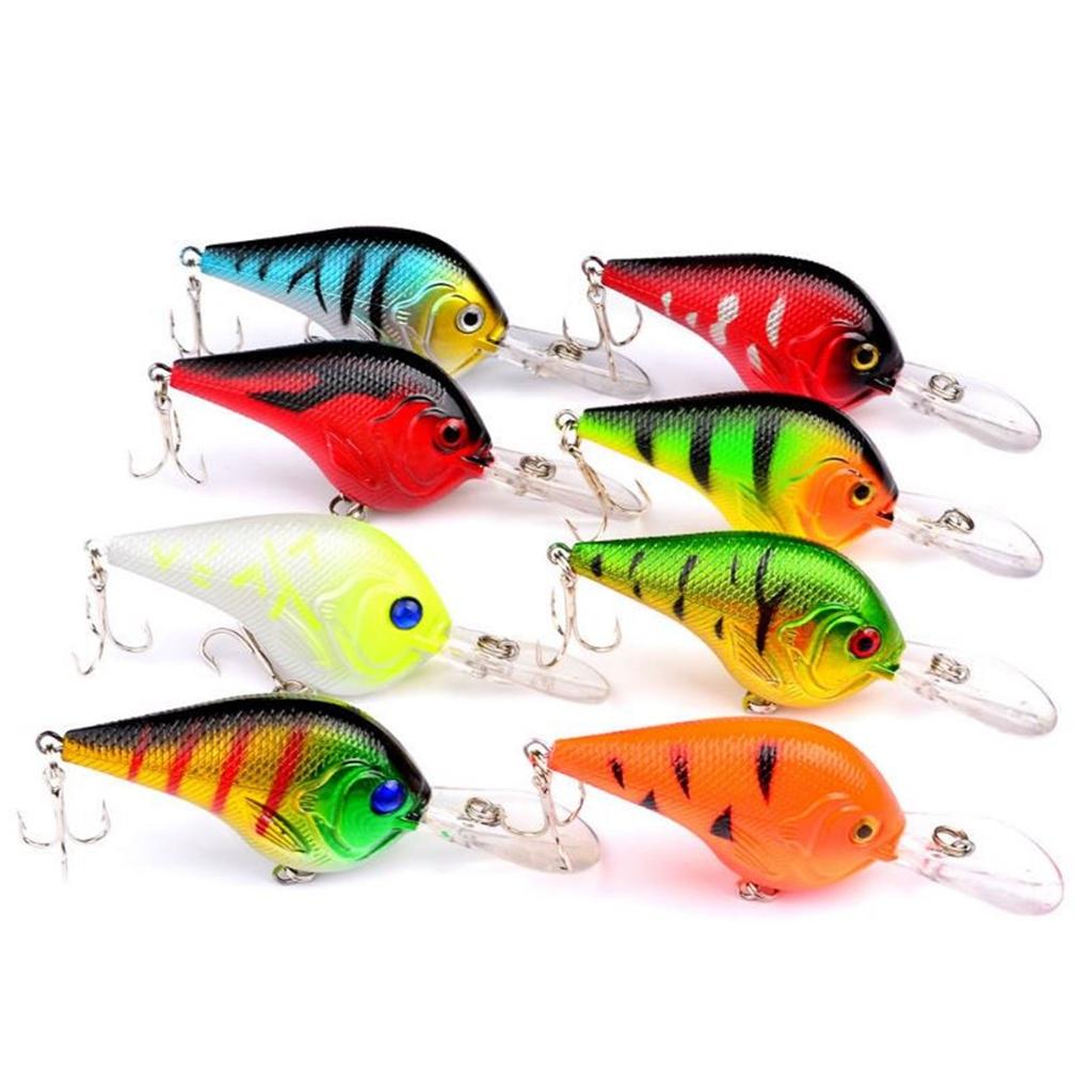 Lot 8pcs Plastic Fishing Lures Bass CrankBait Crank Bait Tackle 11.2g/9.5cm