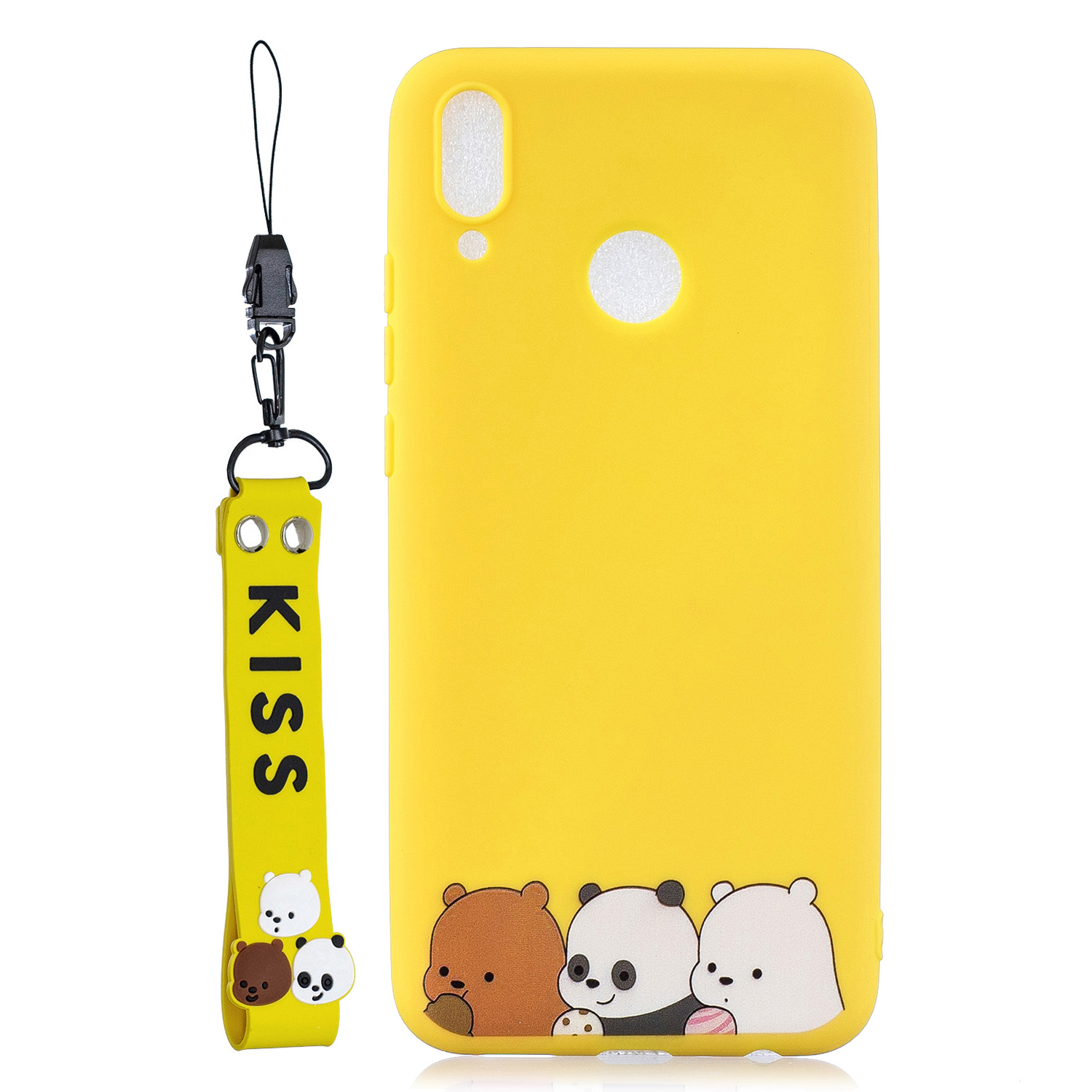 For HUAWEI Y9 2019 Cartoon Lovely Coloured Painted Soft TPU Back Cover Non-slip Shockproof Full Protective Case with Lanyard yellow