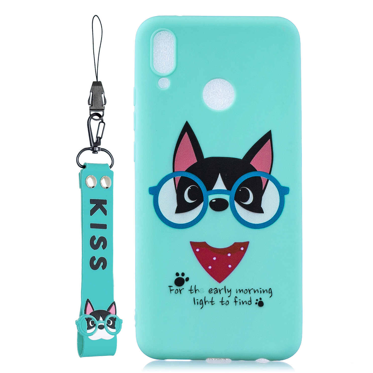 For HUAWEI Y9 2019 Cartoon Lovely Coloured Painted Soft TPU Back Cover Non-slip Shockproof Full Protective Case with Lanyard Light blue