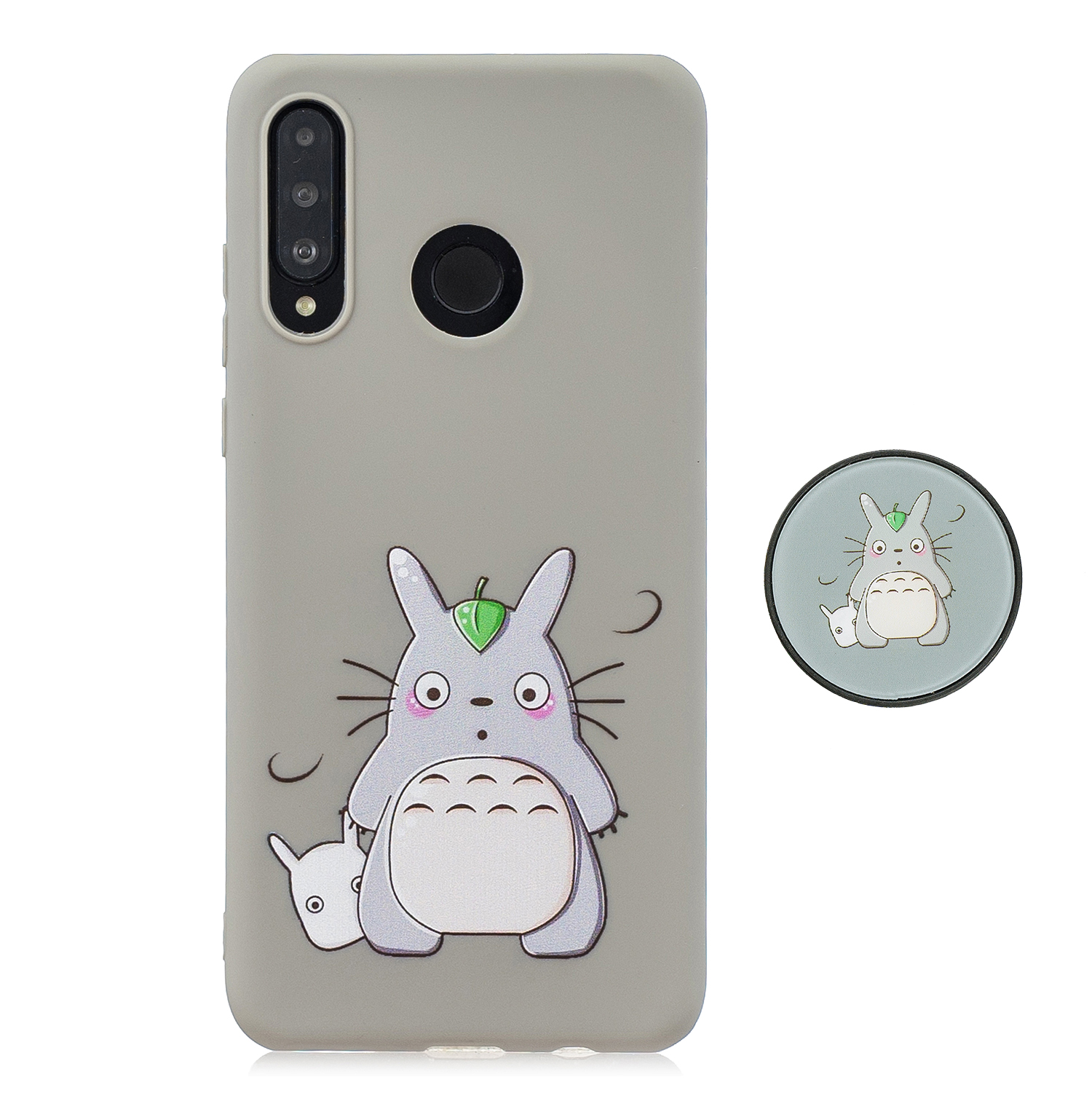 For HUAWEI P30 lite Cute Cartoon Phone Case Ultra Thin Lightweight Soft TPU Phone Case Pure Color Phone Cover with Matching Pattern Adjustable Bracket 4