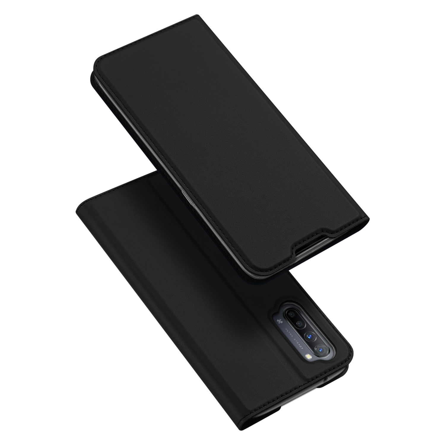 For OPPO Reno 3/3 Pro/ 3 pro 4G Case Magnetic Closure Card Slots Cellphone Cover Screen Protector Stand Available Leather Shell black