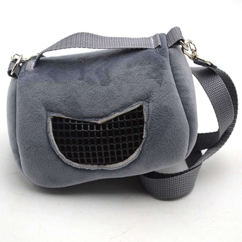 Portable Shoulder Bag for Outdoor Small Pet Squirrel Hamster Guinea Pig gray_Small (12*10*9cm)