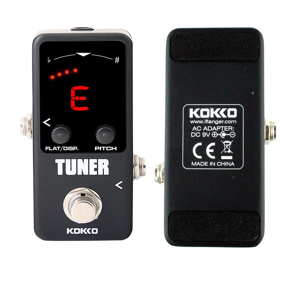 KOKKO Mini Pedal Tuner Guitarra Guitar Bass Violin Ukelele Stringed Instruments Tuner Effect Device  FTN-2 black