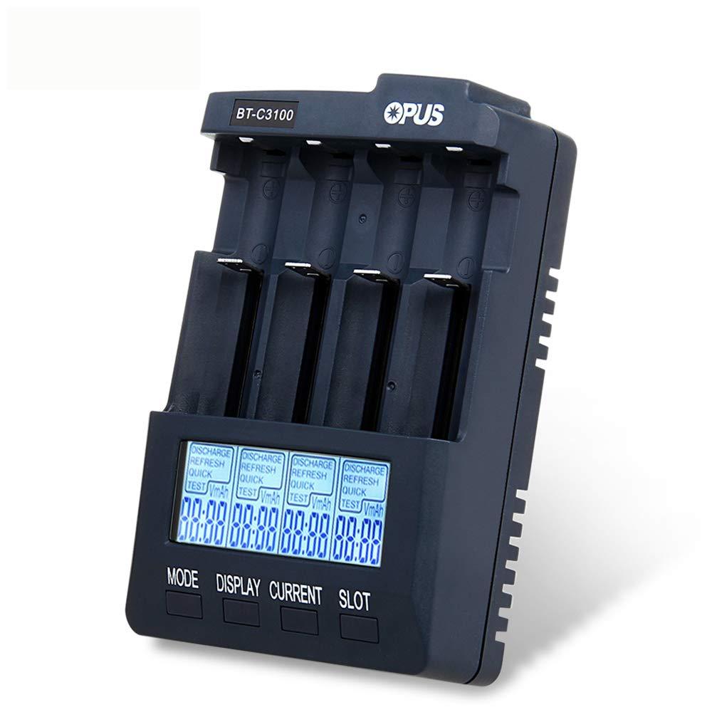 Opus BT-C3100 V2.2 Digital Intelligent 4 Slots AA/AAA LCD Battery Charger UK plug