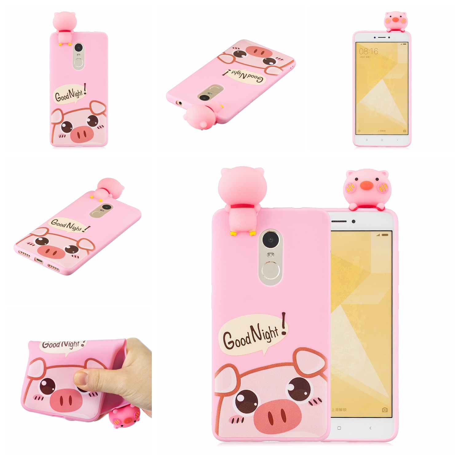For XIAOMI Redmi NOTE 4X/NOTE 4 3D Cute Coloured Painted Animal TPU Anti-scratch Non-slip Protective Cover Back Case Rose red