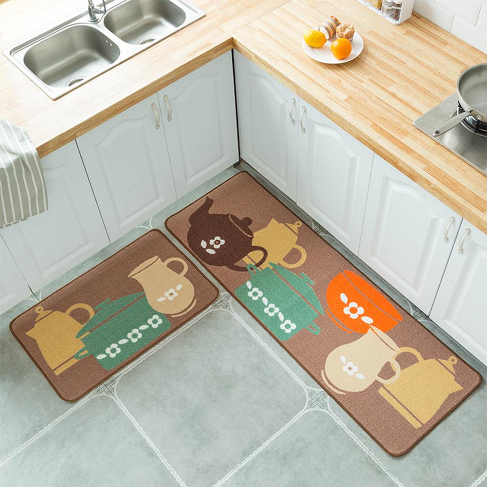 2PCS/Set Simple Cartoon Printed Non Slip Floor Mat Carpet for Kitchen Door  40X60+40X120cm set