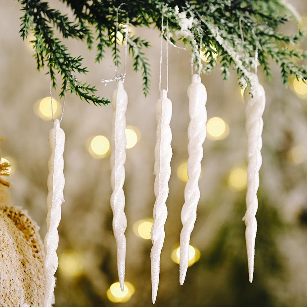 Christmas Decorations Icicle Pendant Christmas Tree Decoration white_5pcs