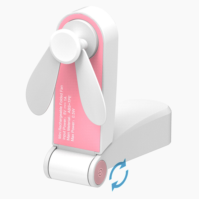 Usb Rechargeable Mini Folding Fans Electric Portable Desktop Electric Fan Pink