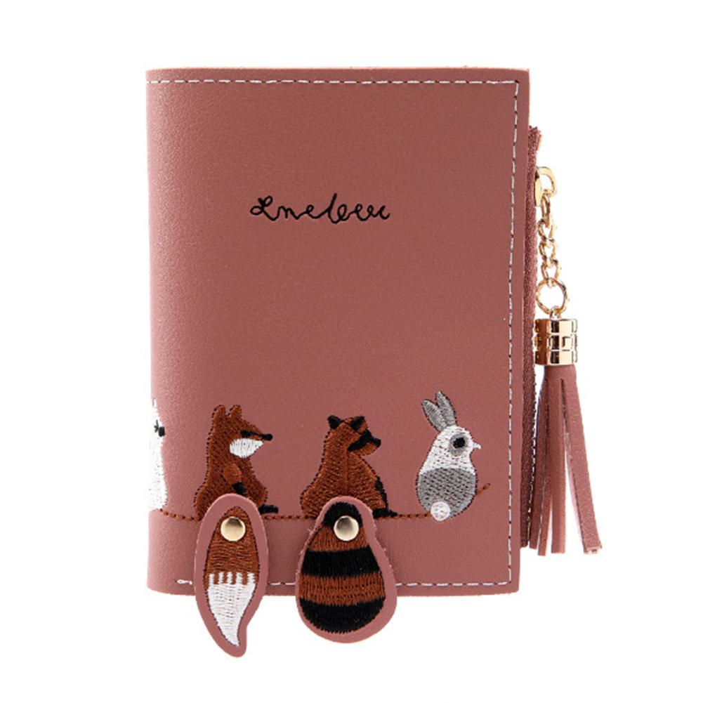 Female Short Embroidery Animal Pattern Purse with Tassel Zipper Card Holder Dark pink