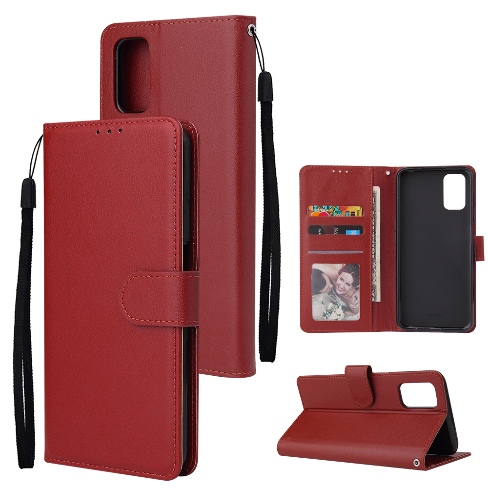 For OPPO A52/A72/A92 PU Leather Protective Phone Case with 3 Cards Slots Bracket red
