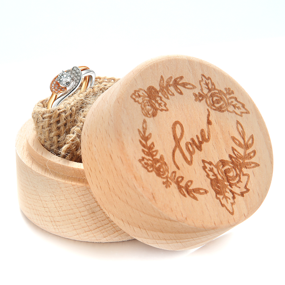 Exquisite Wooden Round Shape Lettering Ring Box for Wedding Prop